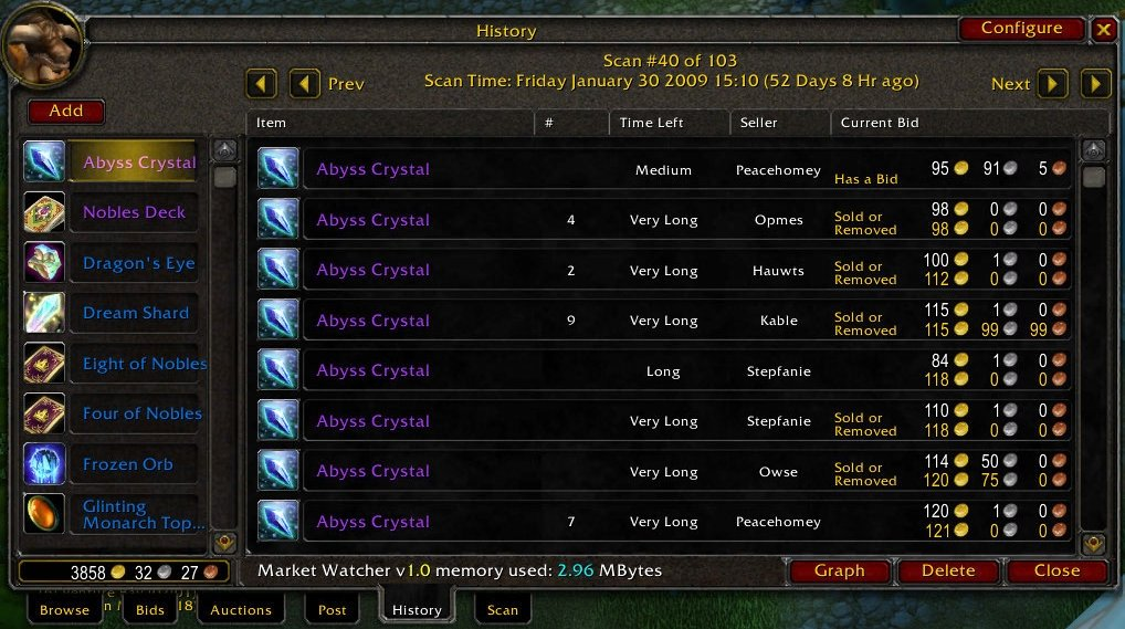 Market Watcher : Auction House & Vendors : World of Warcraft