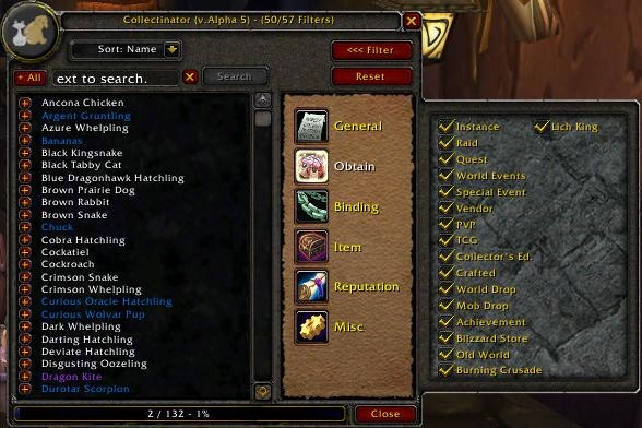 Collectinator : Data Mods : World of Warcraft AddOns