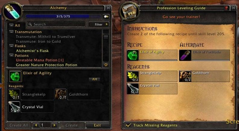 Profession Leveling Guide : TradeSkill Mods : World of Warcraft AddOns