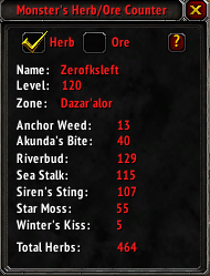 Herb/Ore Counter : Bags, Bank, Inventory : World of Warcraft