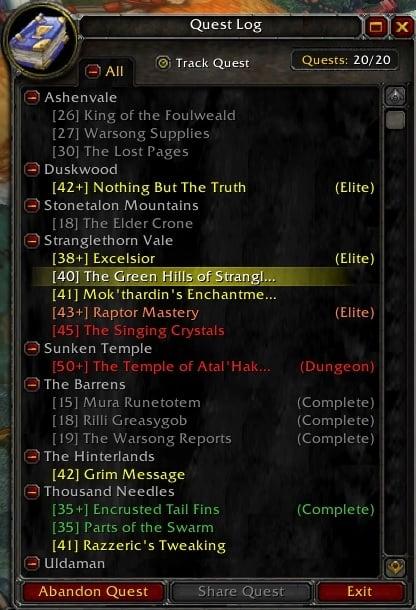 QuestLogEx : Beta-version AddOns : World of Warcraft AddOns